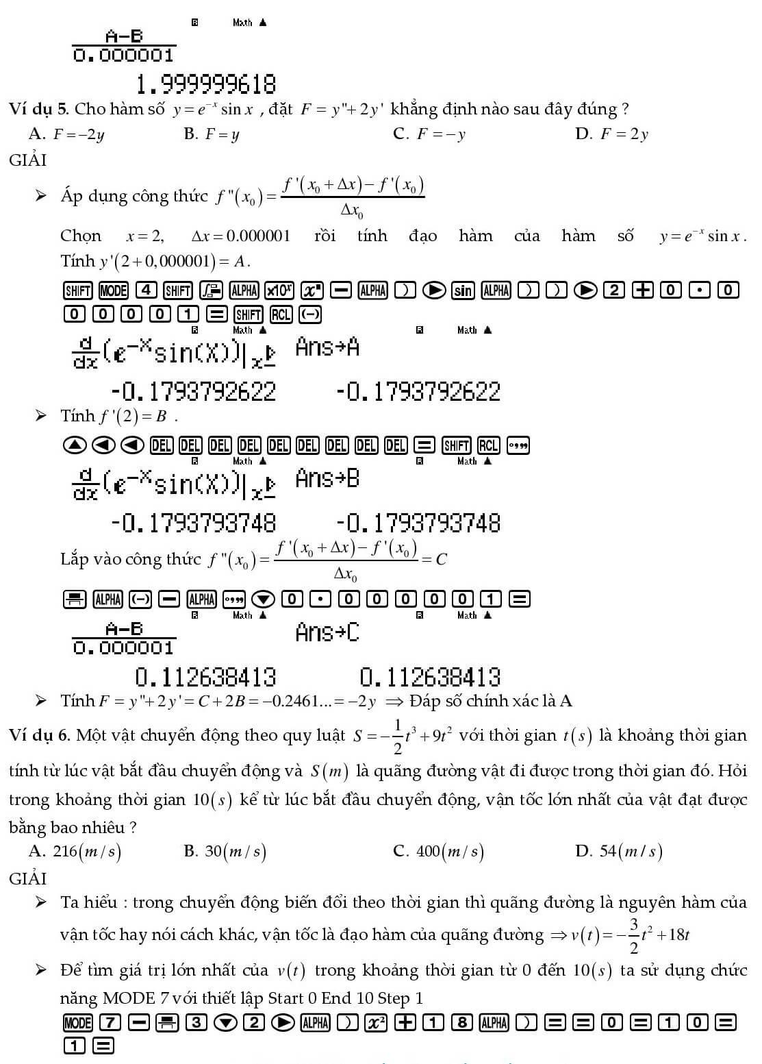 Cách bấm máy tính đạo hàm - Ảnh 4