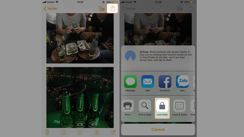 Cách khóa album trên iPhone bằng ghi chú - Bước 4