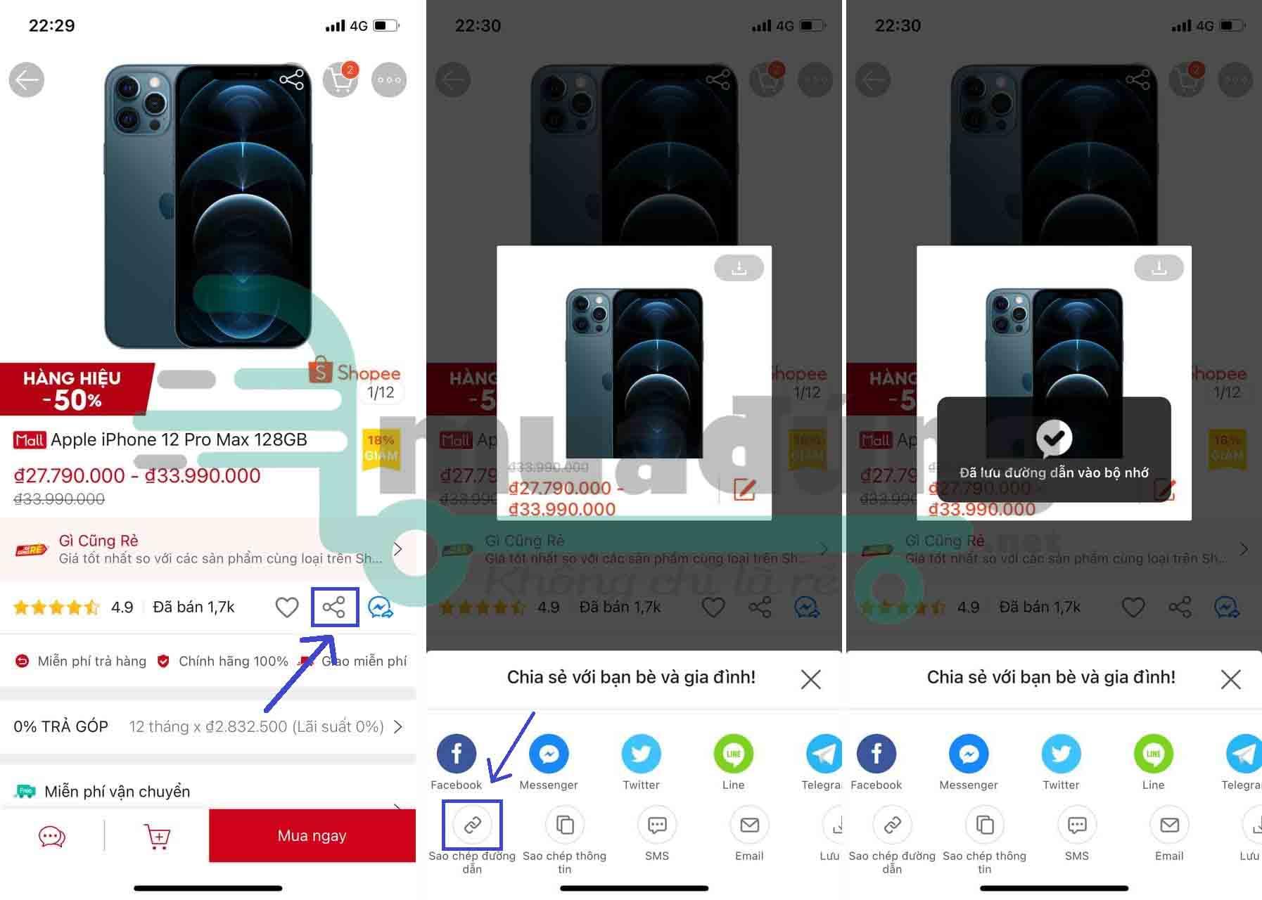 Cách copy link Shopee trên điện thoại