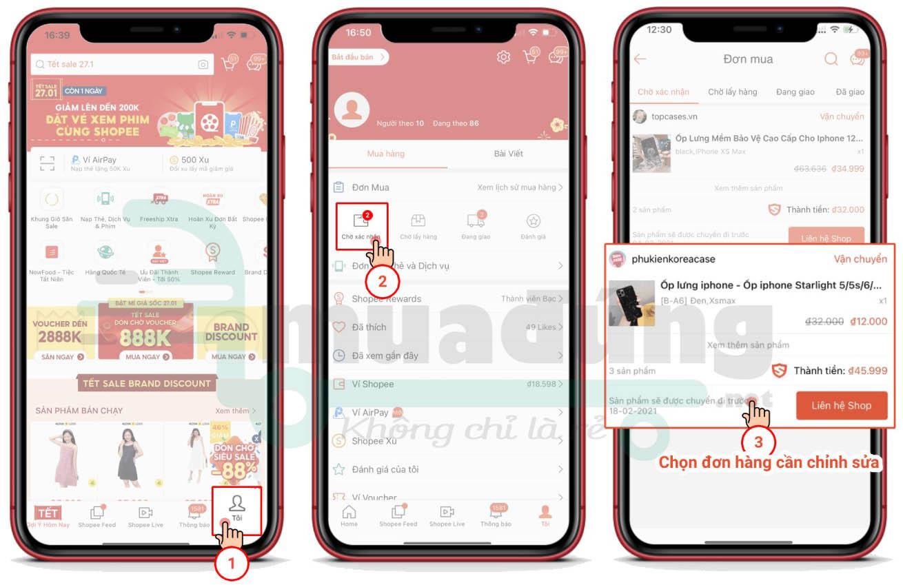 Cách đổi số điện thoại giao hàng trên Shopee - Bước 1