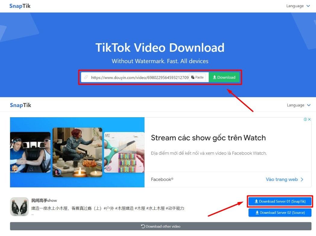 Download video Douyin không logo với SnapTiktrên máy tính